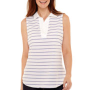 Liz Claiborne® Sleeveless V-Neck Striped Shirt
