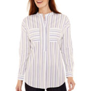 Liz Claiborne® Long-Sleeve Drop-Shoulder Striped Tunic