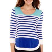 Liz Claiborne® 3/4-Sleeve Striped Ribbed-Hem T-Shirt