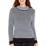 Liz Claiborne® Long-Sleeve Mockneck Textured Sweater