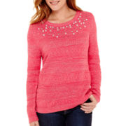 Liz Claiborne® Long-Sleeve Embellished Sweater