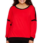 Bisou Bisou® Long-Sleeve Colorblock Metallic Sweatshirt - Plus