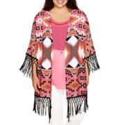 Bisou Bisou® Long-Sleeve Fringe Kimono - Plus