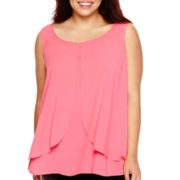 Bisou Bisou® Sleeveless Tiered Draped Top - Plus