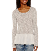 Arizona Long-Sleeve Layered Hatchi Top  - Juniors
