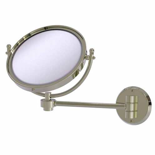 Allied Brass 8 Inch Wall Mounted Extending Make-UpMirror 4X Magnification With Groovy Accent