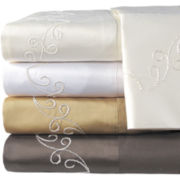 American Heritage 800tc Set of 2 Egyptian Cotton Embroidered Scroll Pillowcases