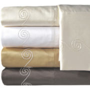 American Heritage 800tc Set of 2 Egyptian Cotton Sateen Embroidered Pillowcases