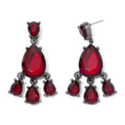 Red Crystal Teardrop Chandelier Earrings