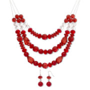 Red 3-Row Wire Necklace & Earrings Set