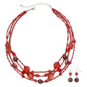 Red 4-Row Necklace & Earrings Set