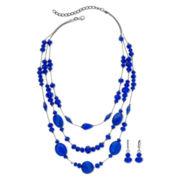 Blue 3-Row Necklace & Earrings Set