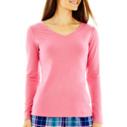 Liz Claiborne Long-Sleeve V-Neck Sleep Tee