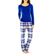 Liz Claiborne® Long-Sleeve Shirt and Flannel Pants Pajama Set