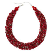 Mixit™ Silver-Tone Red Seed Bead Braided Collar Necklace
