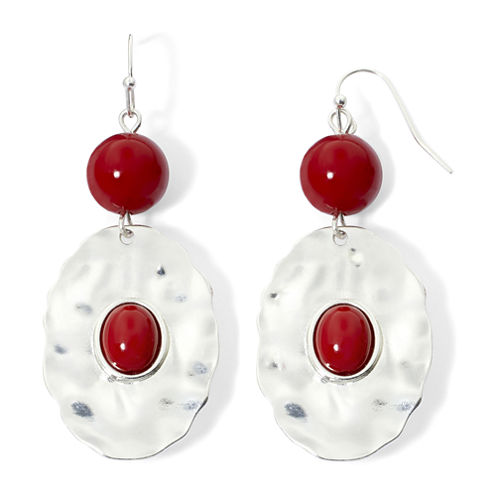 Mixit™ Silver-Tone Red Bead Oval Disc Drop Earrings