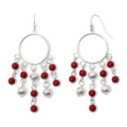 Mixit™ Silver-Tone Red Gypsy Hoop Earrings
