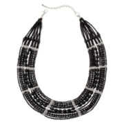 Mixit™ Silver-Tone Black Seed Bead Collar Necklace