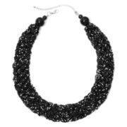 Mixit™ Silver-Tone Black Seedbead Braided Collar Necklace