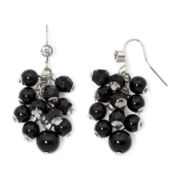 Mixit™ Silver-Tone Black Bead Cluster Earrings