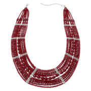 Mixit™ Silver-Tone Red Seed Bead Collar Necklace