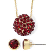 Liz Claiborne Gold-Tone Red Earring and Pavé Fireball Pendant Necklace Set