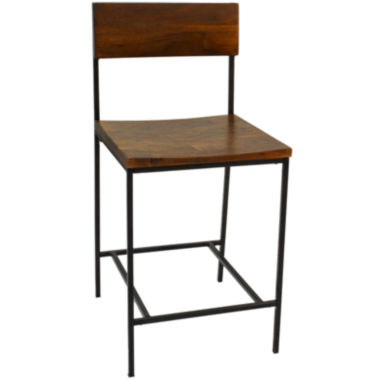 jcpenney.com | Elmsford Rustic Wood Barstool with Back
