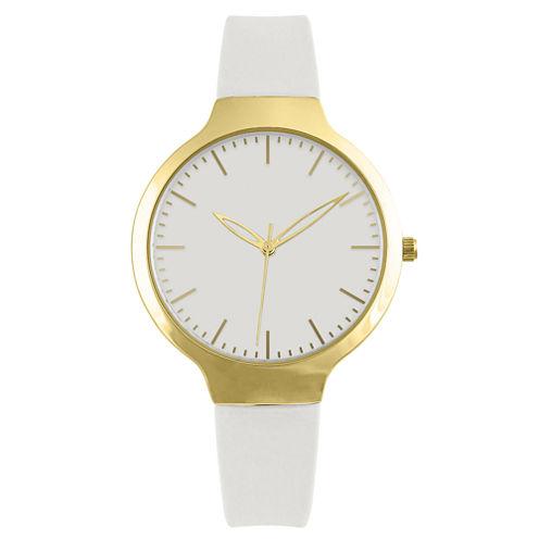 Womens White Strap Watch-Pt1606gdwt