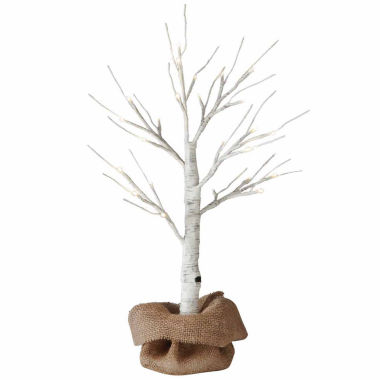 jcpenney.com | 2 ft. LED Birch Tree with Burlap Sack and Twine