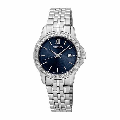 Seiko Womens Silver Tone Bracelet Watch-Sur735