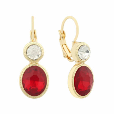 jcpenney.com | Monet® Red and White Crystal Gold-Tone Drop Earrings