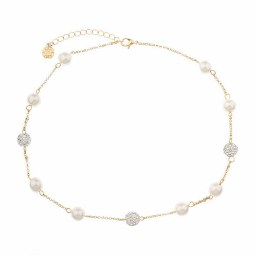 Monet Jewelry Womens Monet Jewelry Womens White And Goldtone Collar Necklace