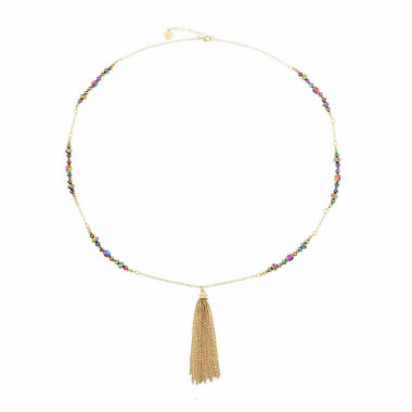 jcpenney.com | Liz Claiborne Beaded Tassel Necklace Multi Goldtone