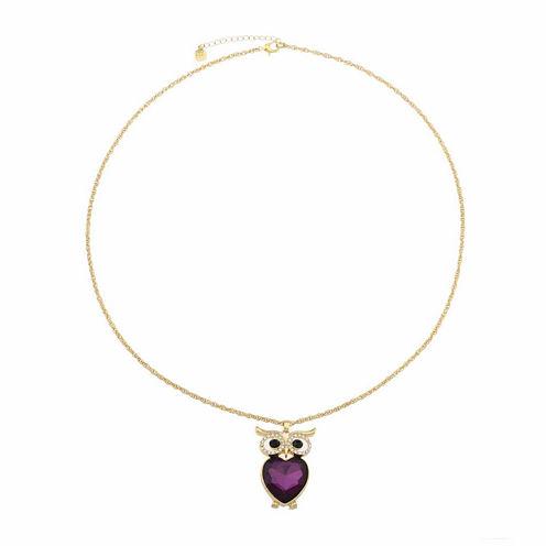 Monet Jewelry Womens Purple Goldtone Owl Pendant Necklace