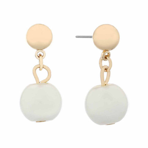 Monet White And Goldtone Post Drop Earring