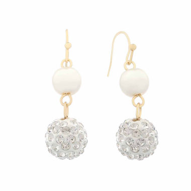 jcpenney.com | Monet White And Goldtone Wire Drop Earring