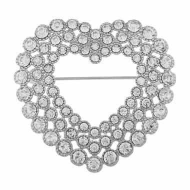 jcpenney.com | Monet Jewelry Clear And Silvertone Open Heart Pin