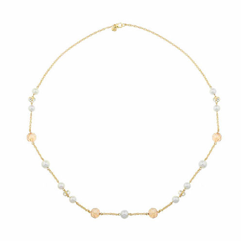 Monet Jewelry White And Goldtone Station Necklace