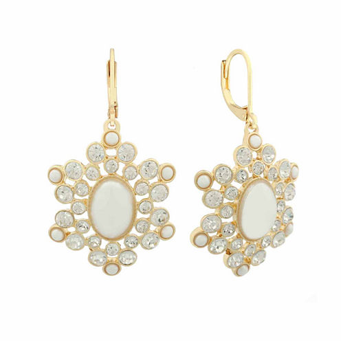 Monet White And Goldtone Chandelier Earring