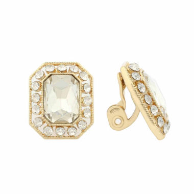 jcpenney.com | Monet Clear And Goldtone Button Clip Earring