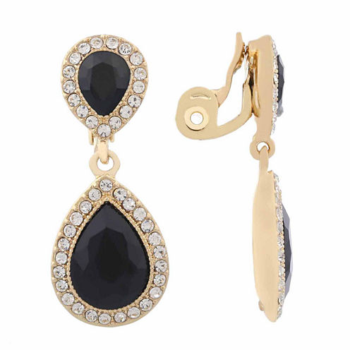 Monet Jewelry Black Goldtone Large Drop Clip Earring