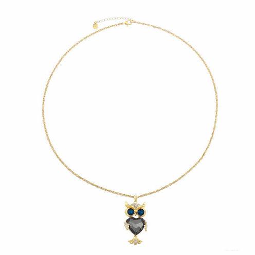 Monet Jewelry Womens Multi Goldtone Owl Pendant Necklace