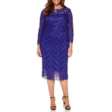 jcpenney.com | RN Studio by Ronni Nicole 3/4 Sleeve Lace Sheath Dress-Plus