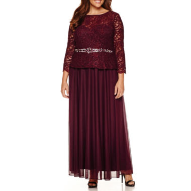 jcpenney.com | Jackie Jon Long Sleeve Beaded Lace Evening Gown-Plus