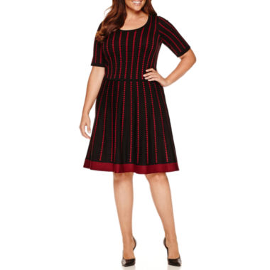 jcpenney.com | Danny & Nicole Elbow Sleeve Sweater Dress-Plus