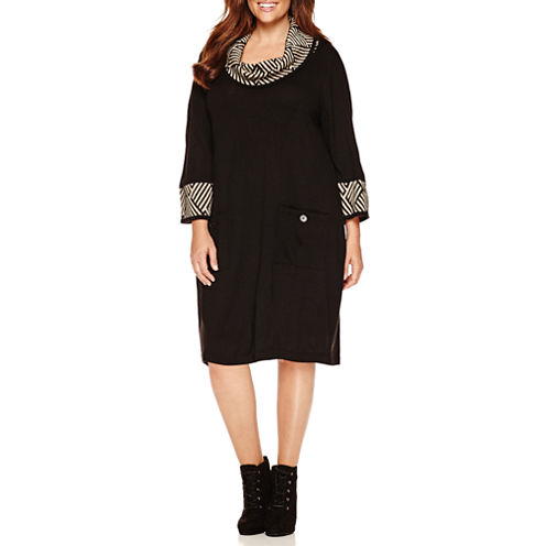 Studio 1 3/4 Sleeve Cowl Neck Sweater Dress-Plus