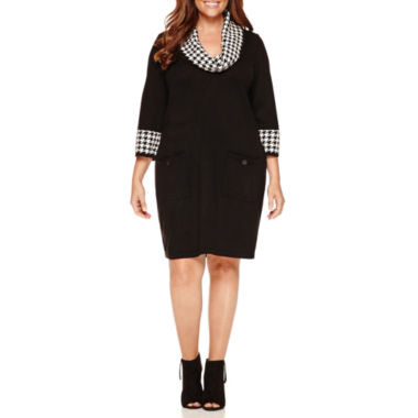 jcpenney.com | Studio 1 3/4 Sleeve Cowl Neck Sweater Dress-Plus