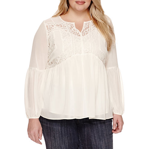 Stylus Long Sleeve Peasant Top Plus