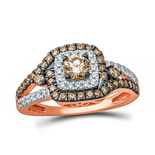 Womens 1 CT. T.W. Round Champagne Diamond 10K Gold Engagement Ring