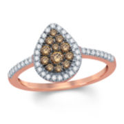 Womens 1/2 CT. T.W. Round Champagne Diamond 10K Gold